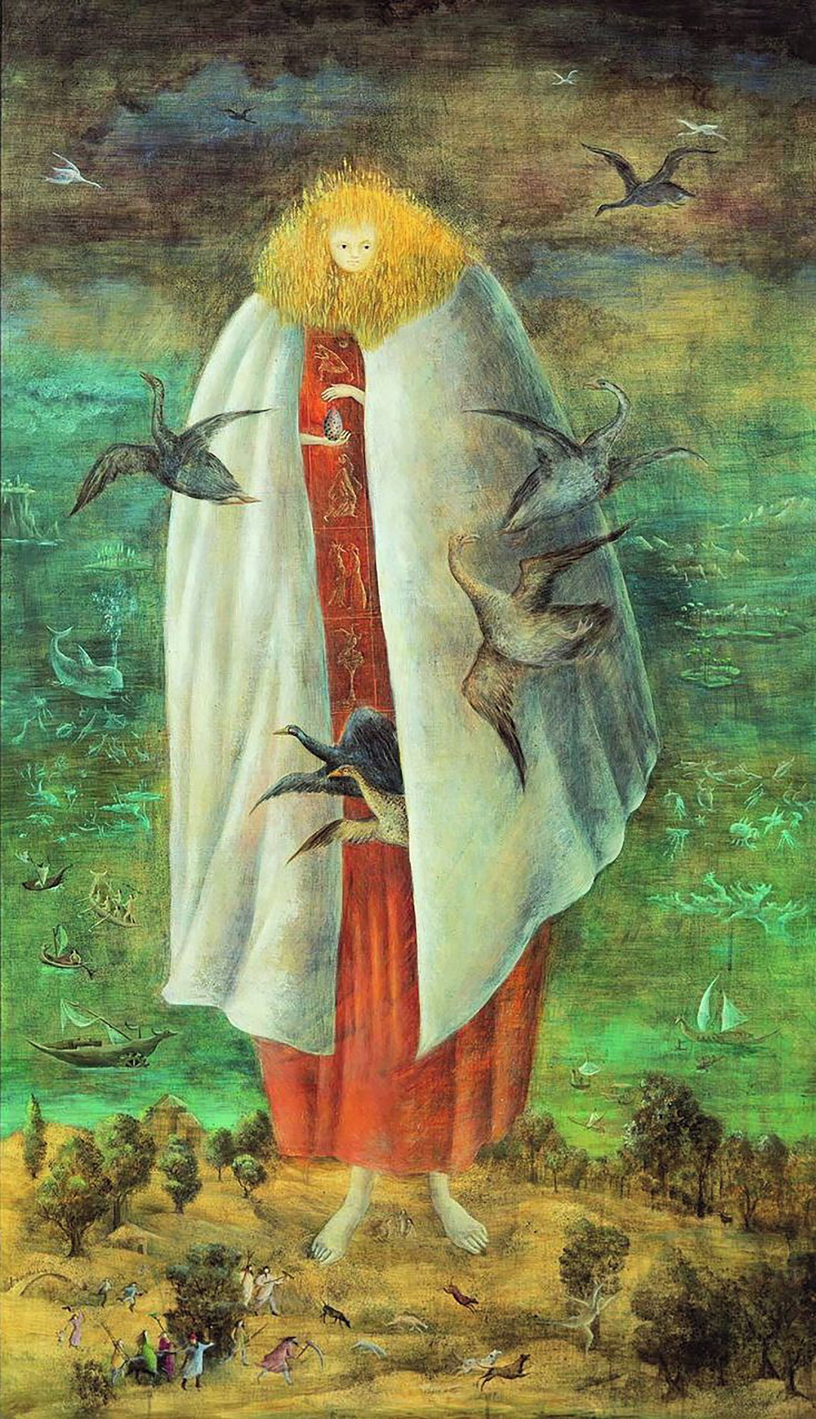 Maleri av Leonora Carrington: The Giantess (The Guardian of the Egg), 1947. Olje på lerret. © Leonora Carrington / BONO 2019